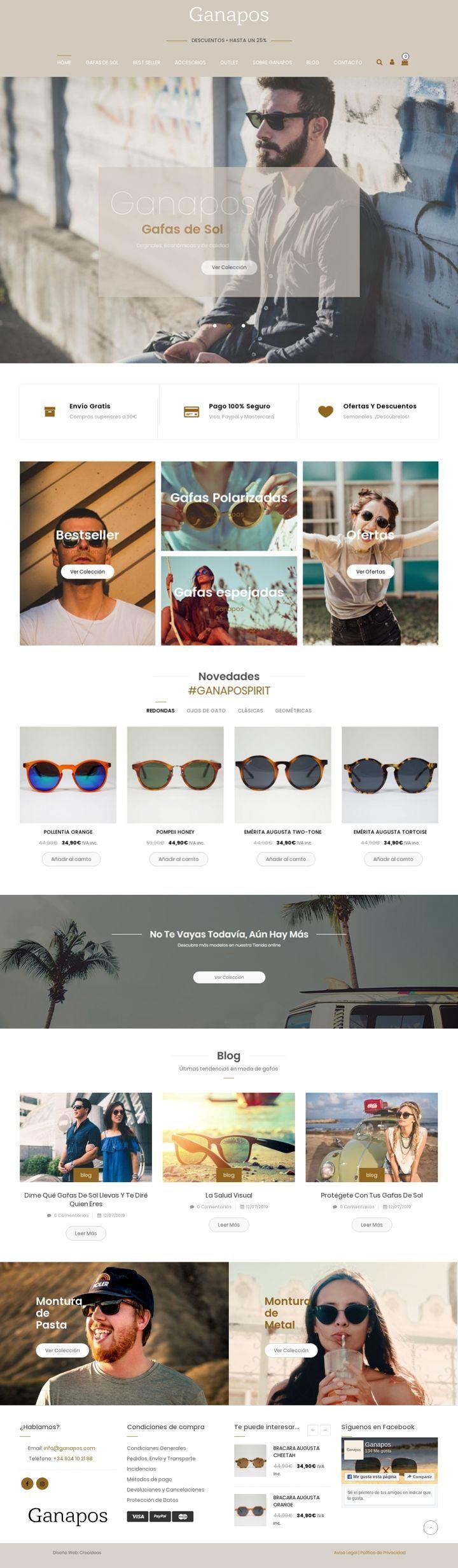 Ganapos. Tienda online de gafas de sol originales con cristales de calidad.